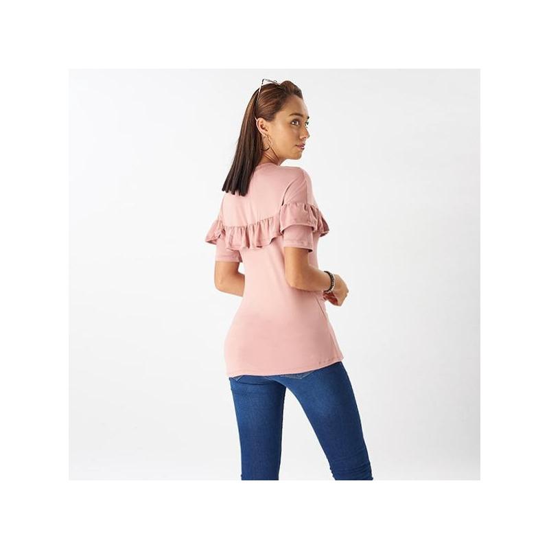 Blusa rosa manga corta olanes 014398