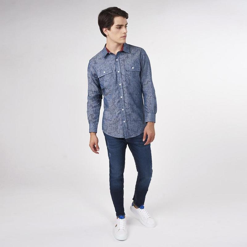 Camisa Azul Con Detalles Negros 019275