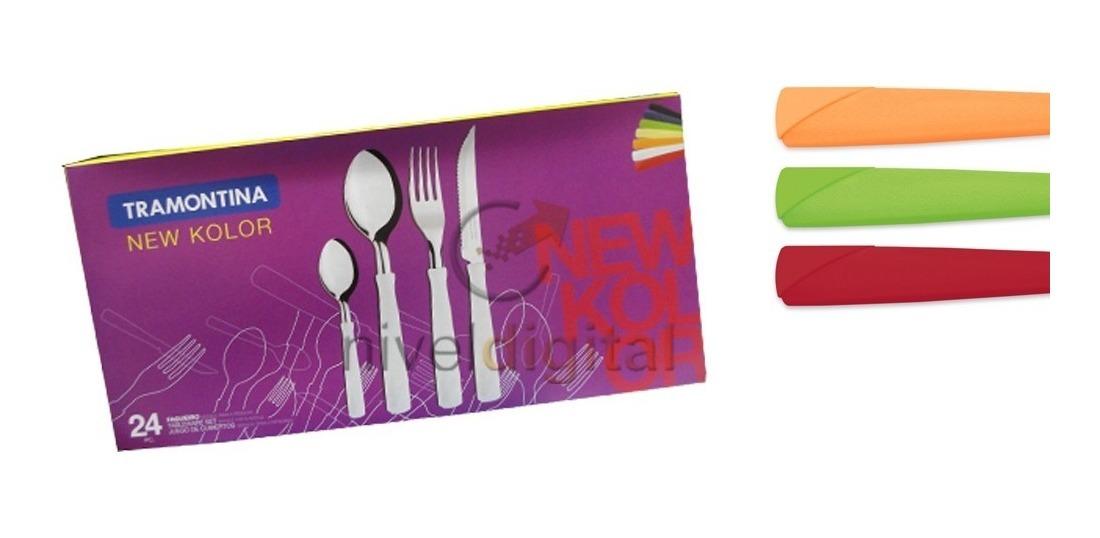 24 Cubiertos Tramontina New Kolor Acero Inox Colores Caja