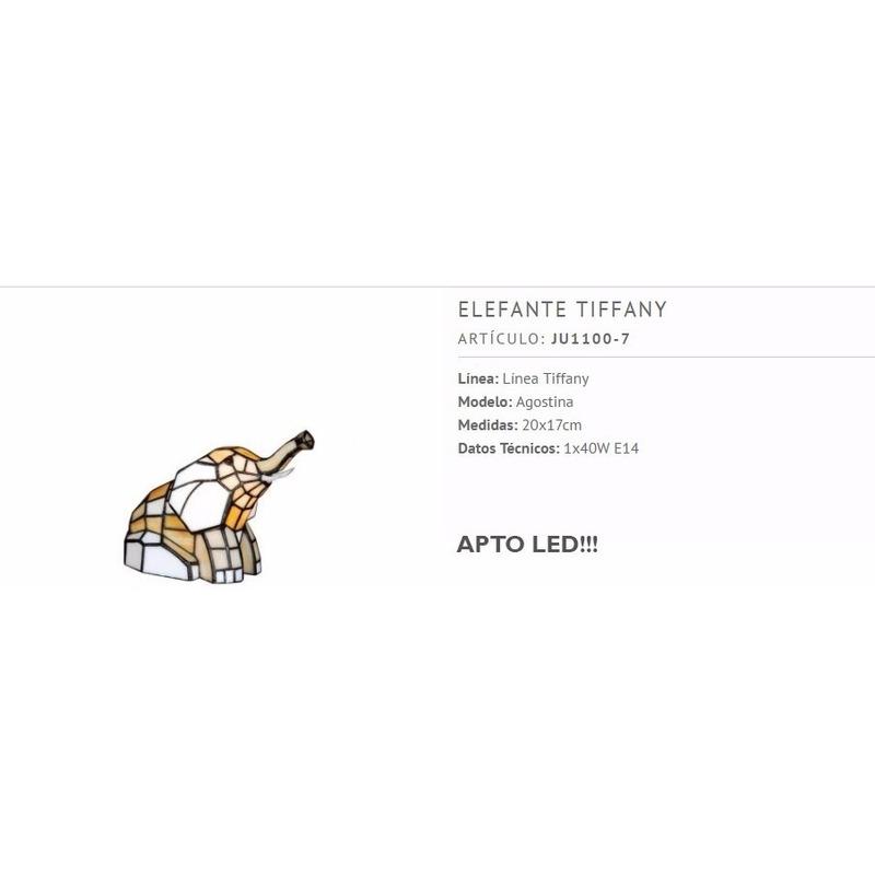 Lampara De Mesa Velador Tiffany Elefante Apto Led