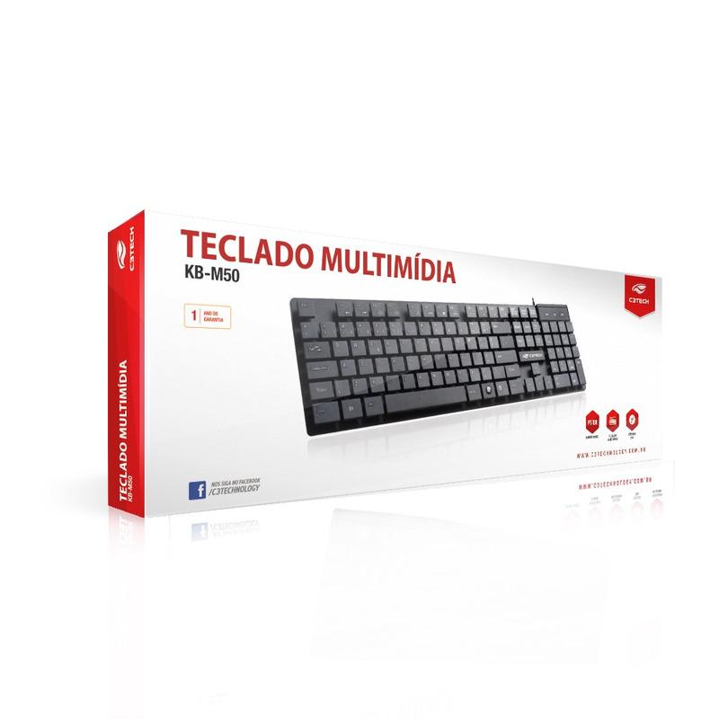 TECLADO MULTIMÍDIA USB C3TECH KB-M50BK PRETO