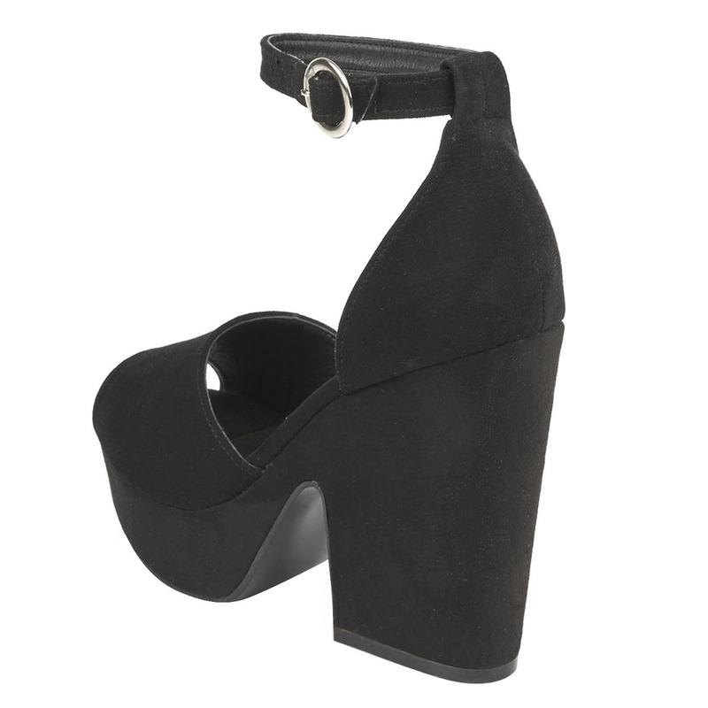 Sandalia tacón gamuza negra 016416