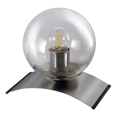 Lampara Velador Globo Transparente Base Acero  Apto Led E27