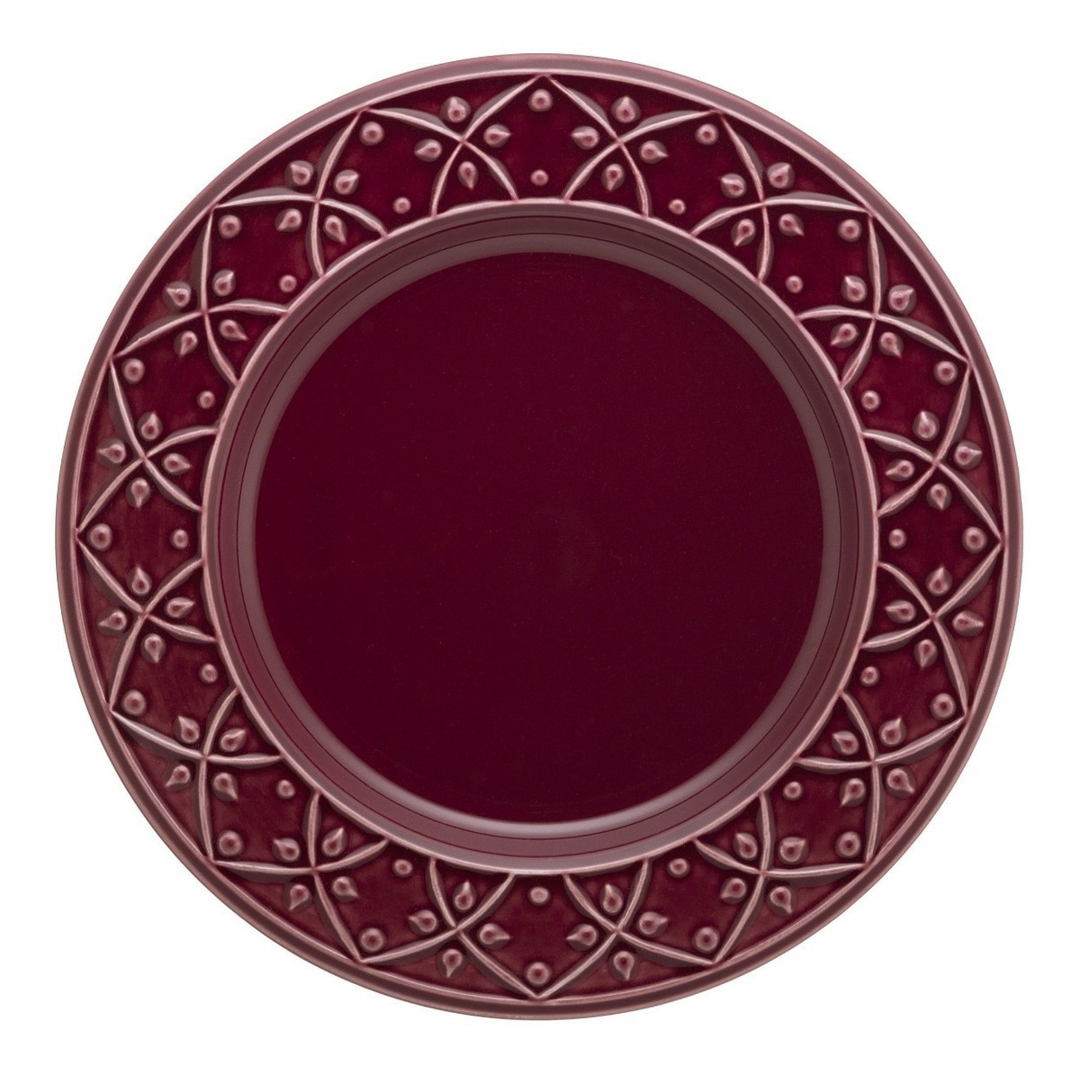 Plato Playo 26 Cm Ceramica Oxford Corvina Bordo Fino Relieve