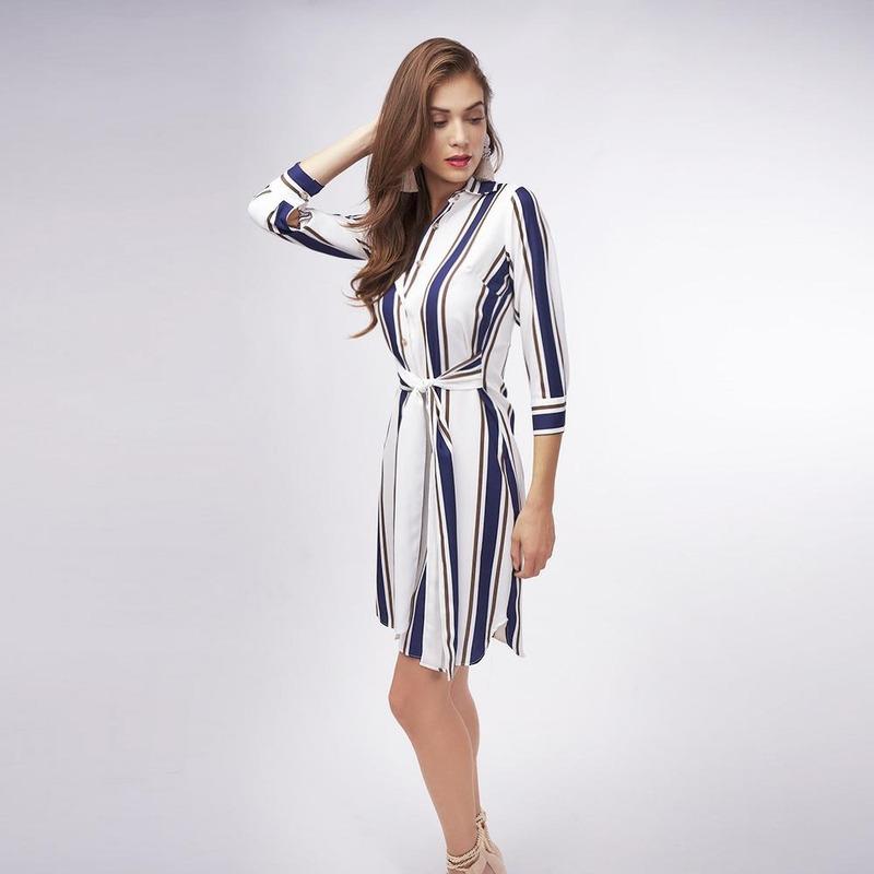 Vestido Blanco Con Lineas Azul 019366