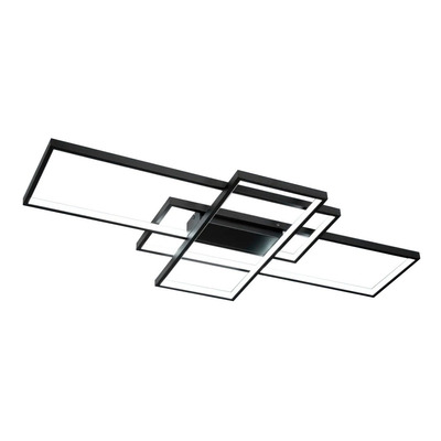 Plafon Led Rectangle Negro 93w Moderno Calidad Premium Gmg