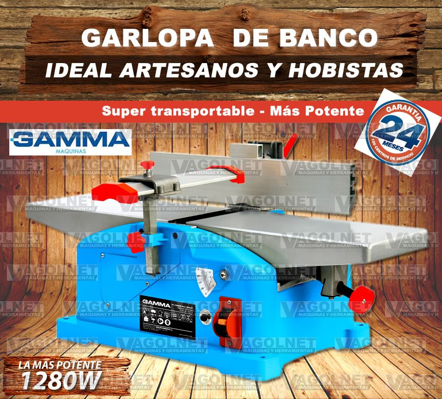 Garlopa De Banco 1280w 1 7 Hp Potente P/ Maderas 156mm Gamma