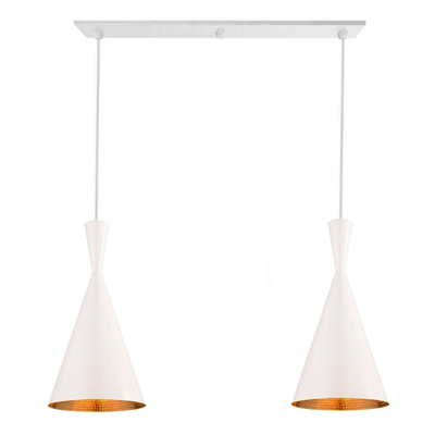 Lámpara Colgante 2 Luces Beat Tall Blanco Moderno Tom Dixon