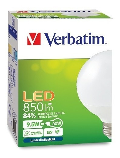 Lampara Led Globo 9.5w Blanco Frio E27 15.000 Hs Verbatim