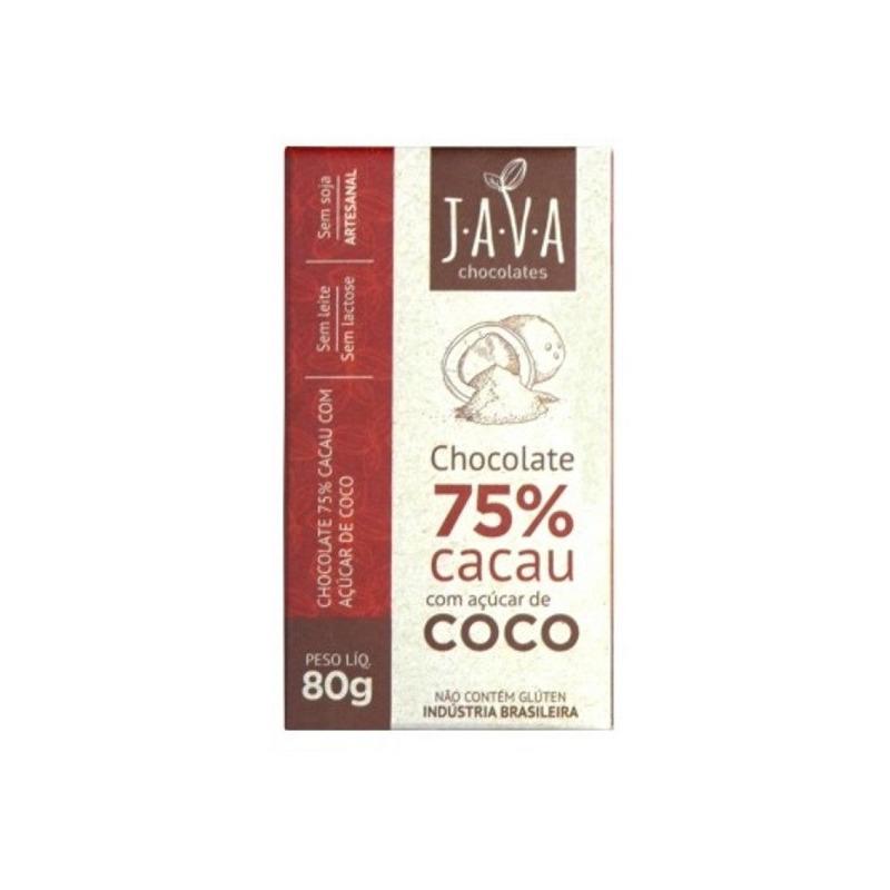 Chocolate 75% Cacau com Açúcar de Coco - 80g - Java