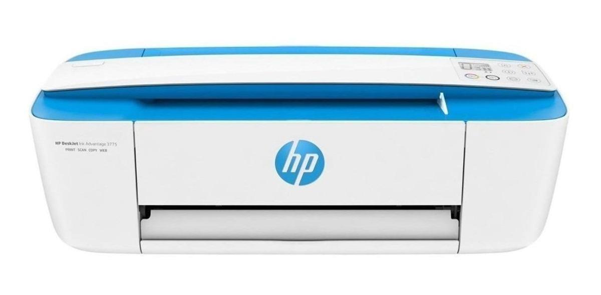 Impresora A Color Multifunción Hp Deskjet Ink Advantage 3775 Con Wifi 110v/220v Blanca Y Celeste