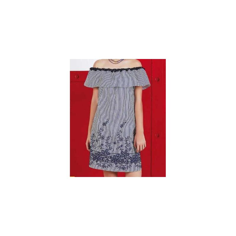 Vestido corto marino a rayas bordado 015165