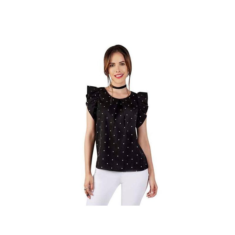 Blusa negra estampada manga corta 015208