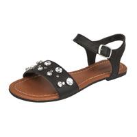 Sandalia piso negra con perlas 016789