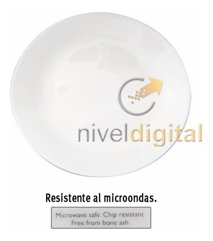 Set X 6 Platos Playos Lisos 27 Cm Vidrio Blanco Microondas