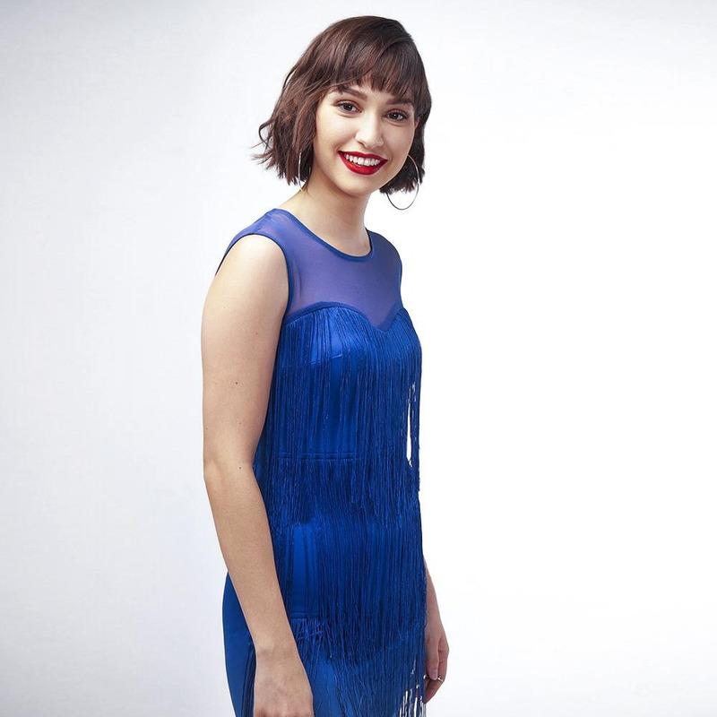 Vestido Azul Con Barbas 021294