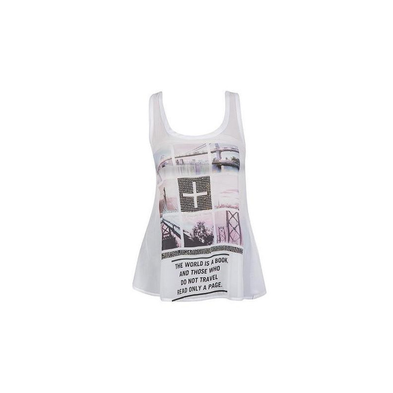 Blusa blanca estampada sin manga 010641