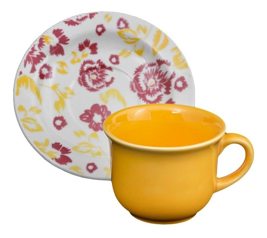 6 Tazas Plato 200 Ml Porcelana Oxford Deco Desayuno Te Cafe