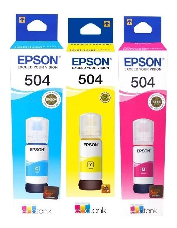 Tinta Epson T504 Cian Mag Ama Imp L4150 L4160 Original C/u