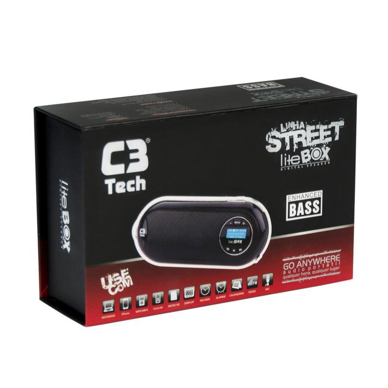 CAIXA DE SOM SPEAKER 2.0 COM LCD/FM/MSD/BATERIA C3TECH ST-180 PRATA
