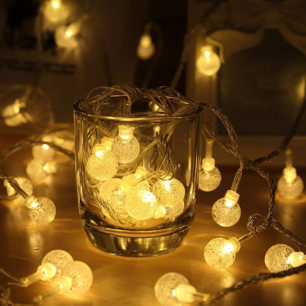 Luces Decorativas 20 Led Bolita Cristal 2 Metros A Pila