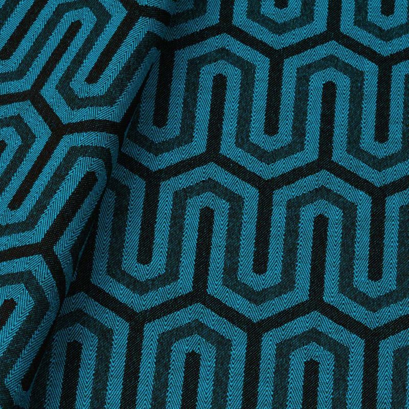 Tecido jacquard para almofada - azul/marrom- Impermeável - Coleção Panamá