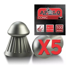 Pack X5 Balines Apolo Conic Punta 4.5 Mm X100 Aire Comprimid