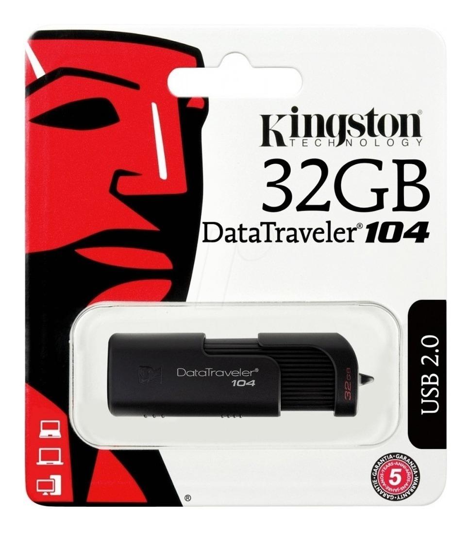 Pendrive 32gb Kingston Dt104 Usb 2.0 Pen Drive Gtia Oficial