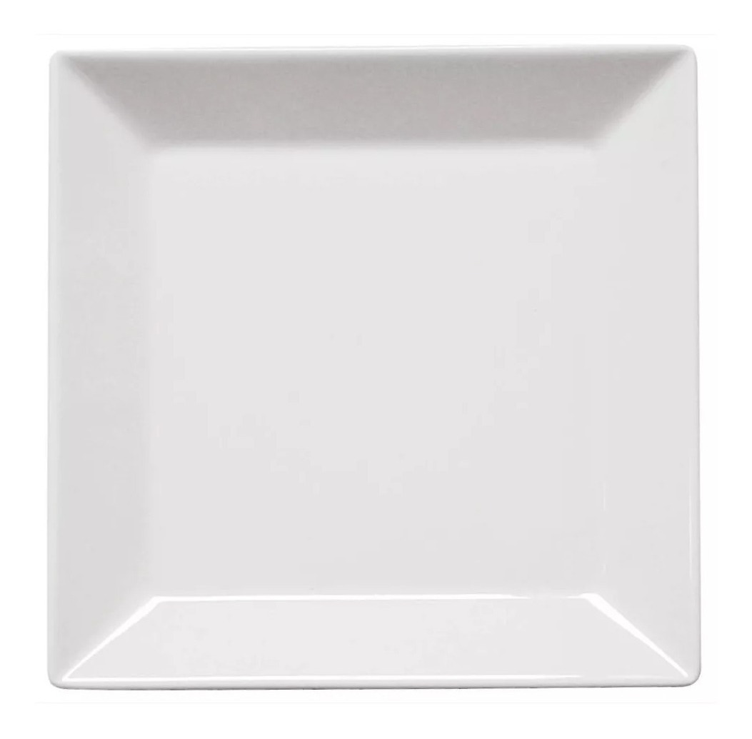 6 Platos Playo Cuadrado Grand 26 8 Cm Porcelana Blanc Oxford
