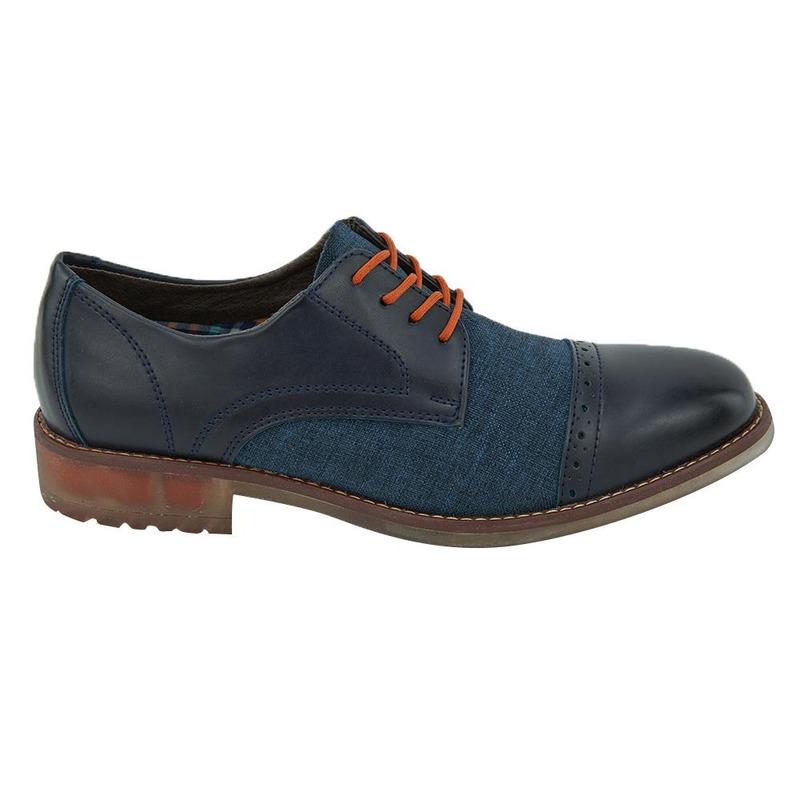 Zapato Azul Con Textura Y Agujetas Naranjas 017587