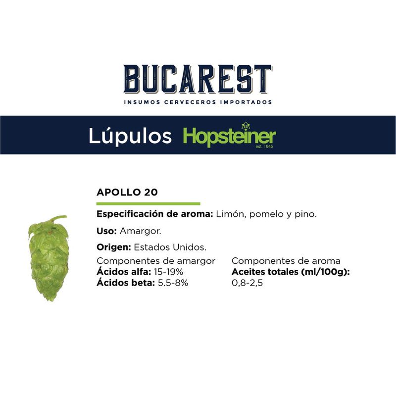 Lúpulo Apollo Hopsteiner -  5 kilos - 2018