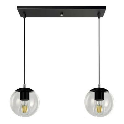 Colgante 2 Luces Globo 15cm Negro Deco Moderno Apto Led E-27