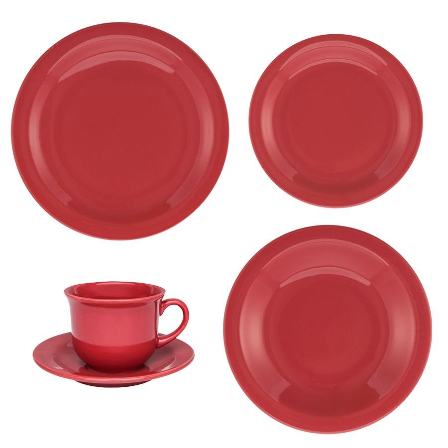 Juego Vajilla 30 Piezas Ceramica Oxford Rojo Platos Taza