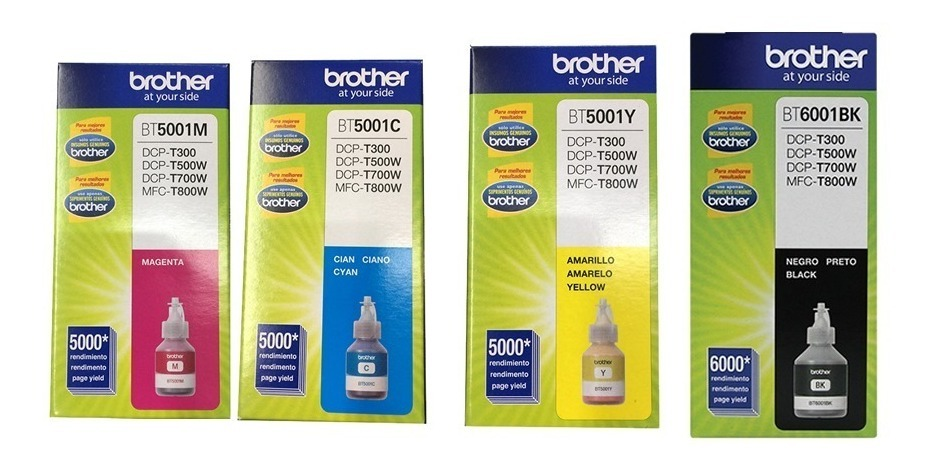 Combo Tinta Brother Dcp T300 T500 T700 Negro + Colores Orig