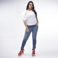 Blusa Blanco Con Detalle En Rojo 017099