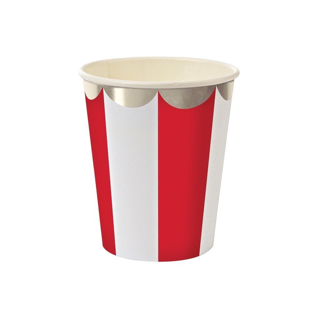 Vasos Stripe rojos