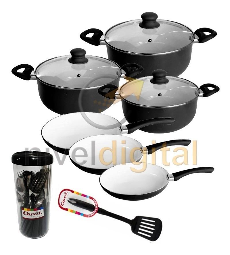 Set Bateria Cocina 9 Pzs Carol Ceramica + 24 Cubiertos Pvc
