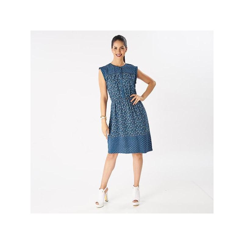 Vestido corto azul sin manga  019121