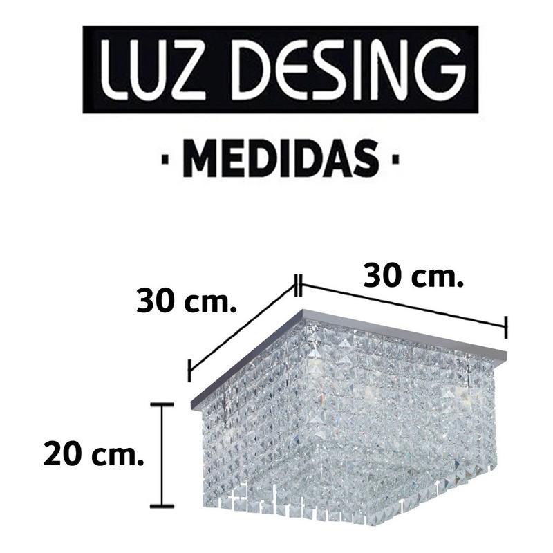 Plafon Cuadrado Recto 4 Luces Apto Led G9 Deco Moderno Mg