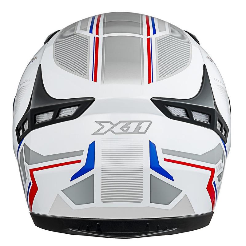 Capacete X11 Volt Dash Branco Vermelho e Azul