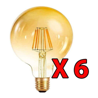 X 6 Lampara Globo Filamento Led 10w Vintage E-27 Ambar G125