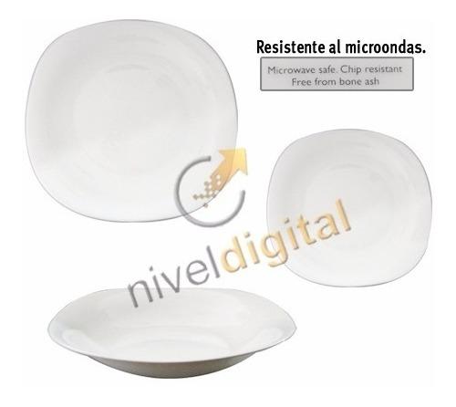 Set X 18 Platos Cuadrado Vidrio Blanco Resiste Microondas