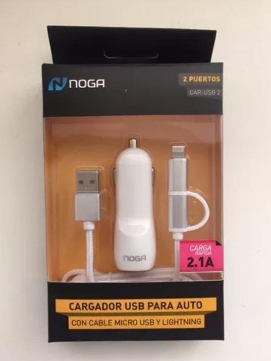 Cargador Auto Celular Con Cable Usb A Micro Usb Y Lightning
