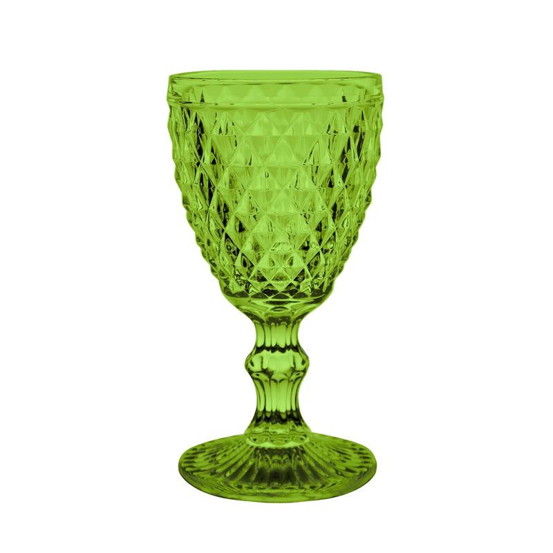 Jogo 6 Taças Agua TopãZio Verde -Bico de Jaca - Em Vidro 300ml 7557183