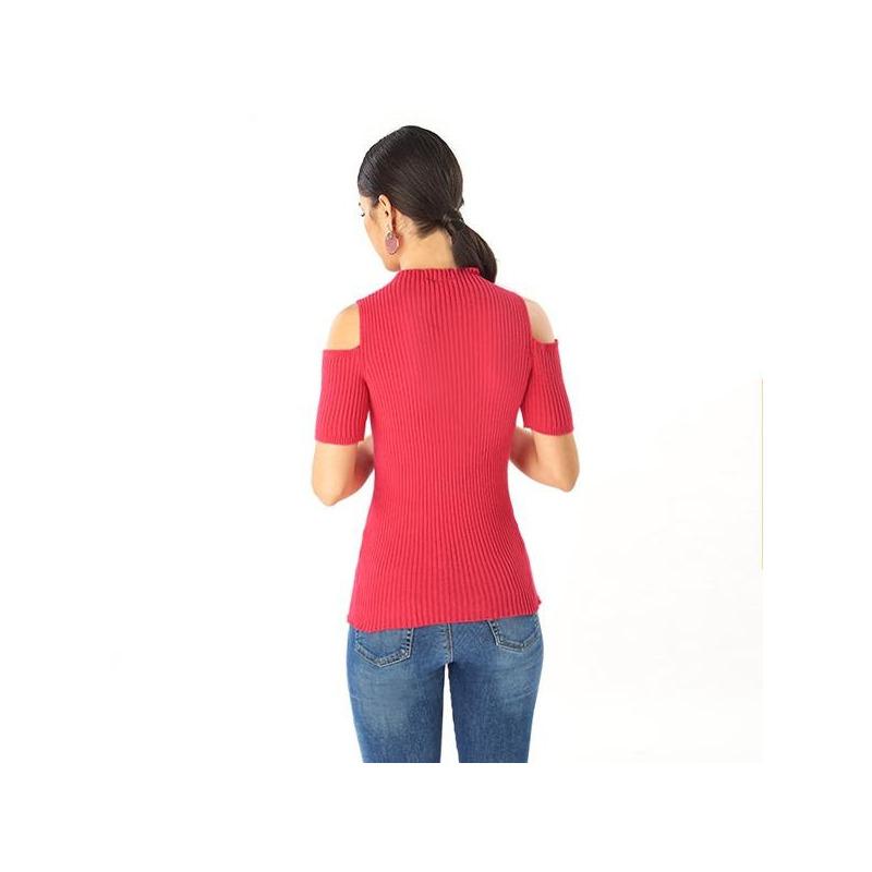 Blusa rosa abertura manga corta 014339