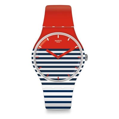 reloj swatch suow maglietta blanco azul rojo wr mts
