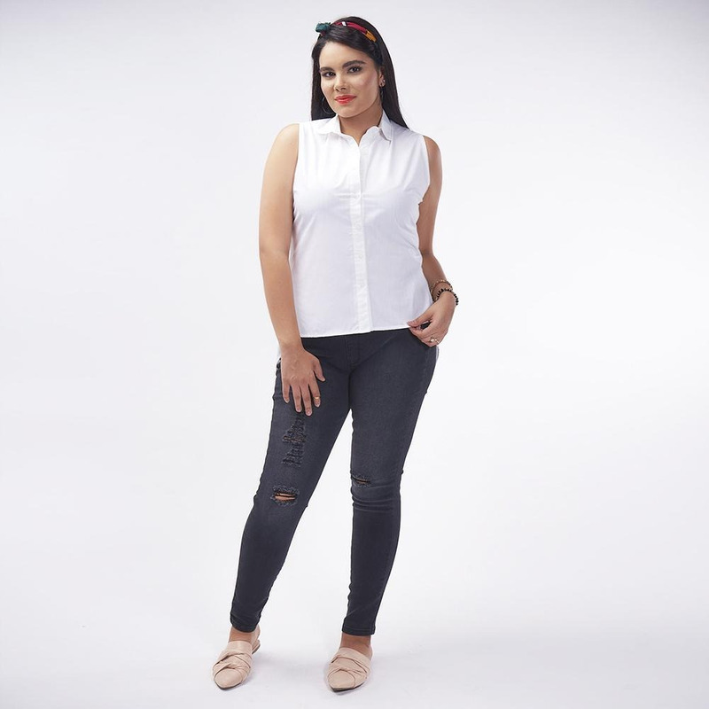 Blusa Blanca Sin Mangas 019382