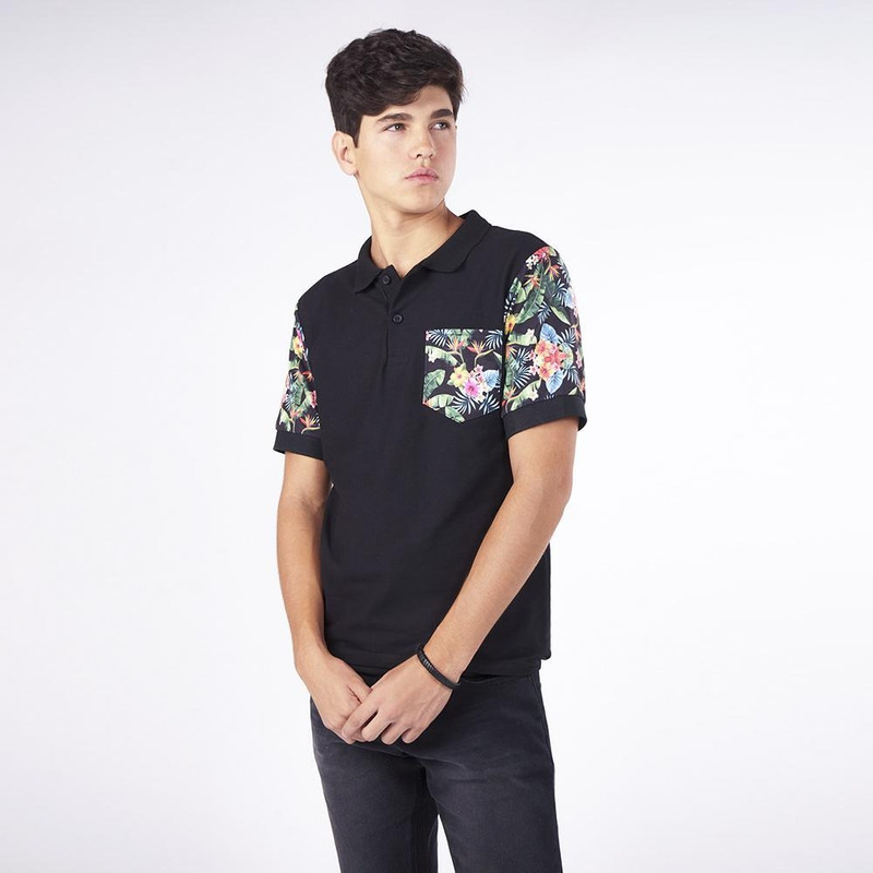 Camisa Negra Con Estampado Multicolor 019295