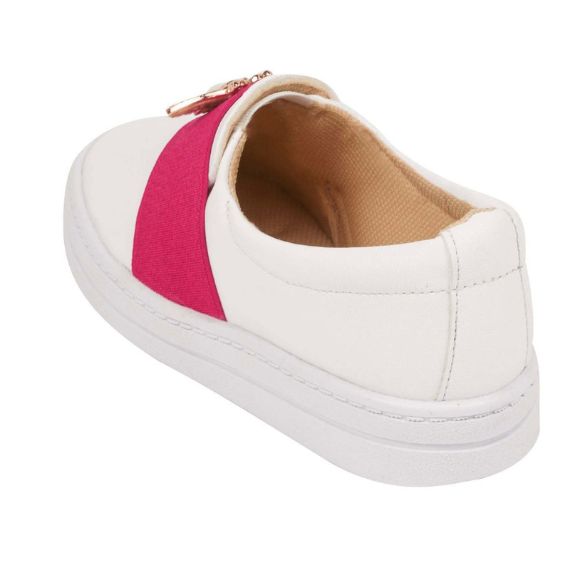 Sneakers blancos franja rosa 018638