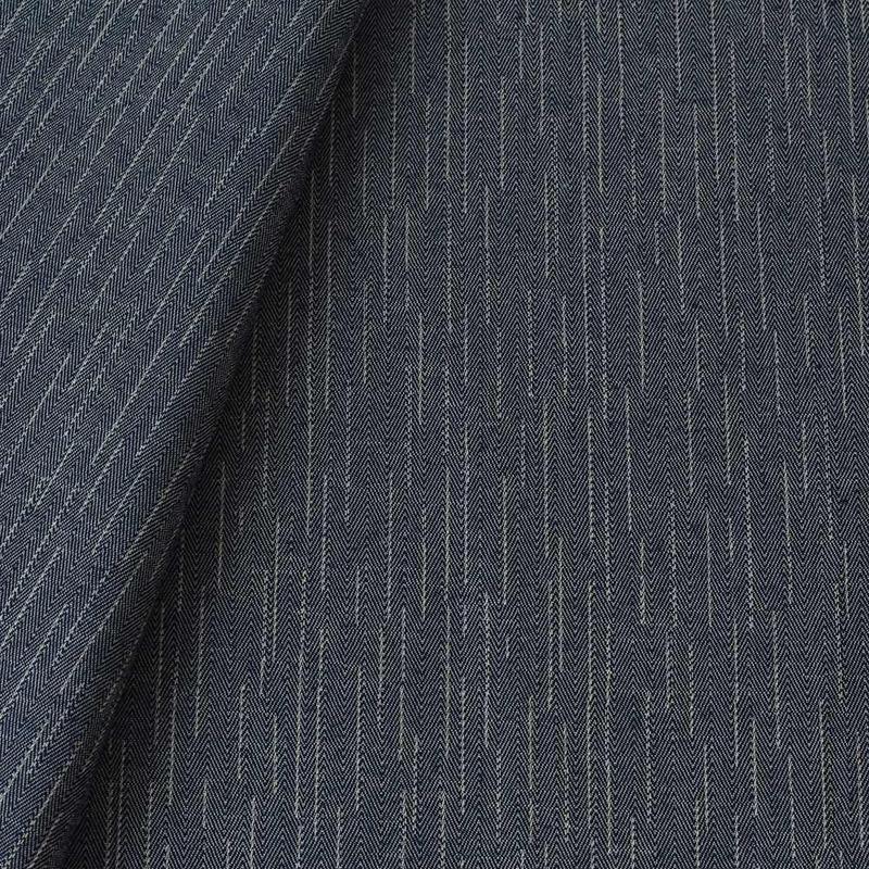 Tecido jacquard para sofá falso liso - bege/azul marinho - Impermeável - Coleção Panamá